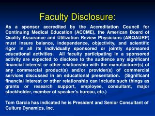 Faculty Disclosure: