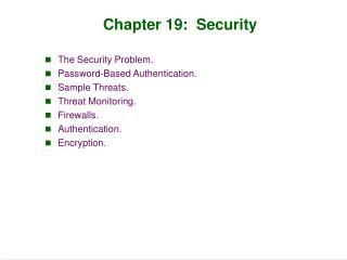 Chapter 19:  Security