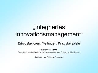Integriertes Innovationsmanagement