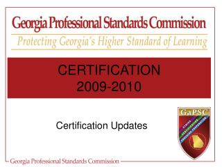 Certification Updates