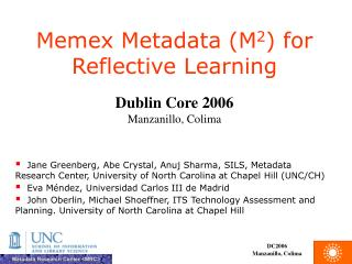 Memex Metadata M2 for Reflective Learning