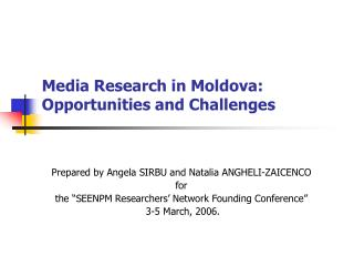 Media Research in Moldova:  Opportunities and Challenges