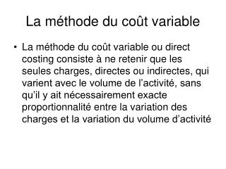 La m thode du co t variable
