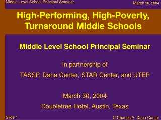High-Performing, High-Poverty, Turnaround Middle Schools
