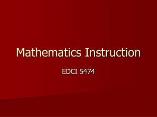 Mathematics Instruction