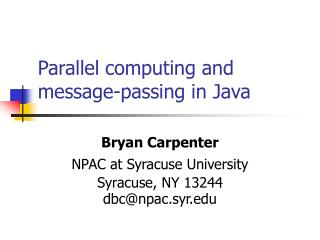 Parallel computing and message-passing in Java