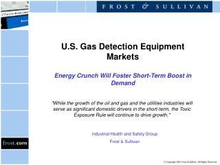 U.S. Gas Detection Equipment Markets  Energy Crunch Will Foster Short-Term Boost in Demand