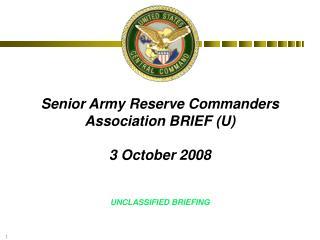 Senior Army Reserve Commanders Association BRIEF U