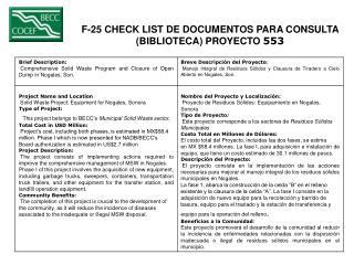 F-25 CHECK LIST DE DOCUMENTOS PARA CONSULTA  (BIBLIOTECA) PROYECTO  553