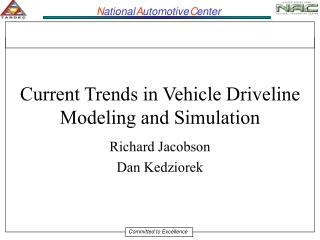 Current Trends in Vehicle Driveline Modeling and Simulation