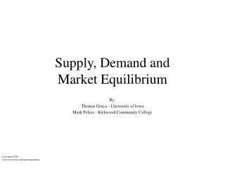 Supply, Demand and  Market Equilibrium