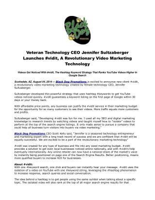 Veteran Technology CEO Jennifer Sultzaberger Launches #vidit
