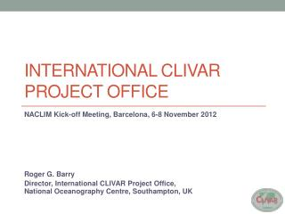 International  clivar  project office