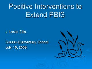 Positive Interventions to Extend PBIS