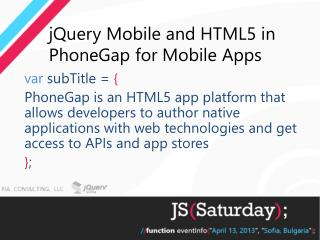 jQuery Mobile and HTML5 in  PhoneGap  for Mobile  Apps