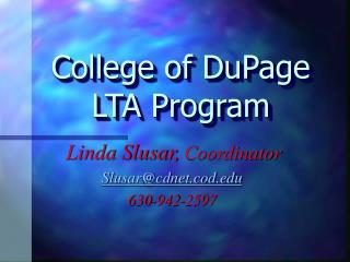 College of DuPage LTA Program