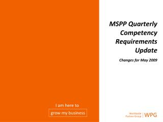 MSPP  Quarterly  Competency  Requirements  Update Changes for Ma y  2009