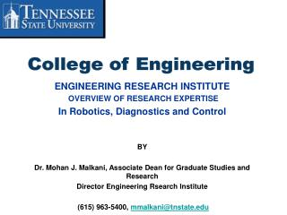 ENGINEERING RESEARCH INSTITUTE  OVERVIEW OF RESEARCH EXPERTISE