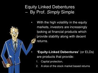 Equity Linked Debentures –  By Prof.  Simply  Simple
