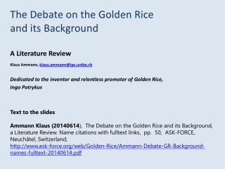 The Debate on the Golden Rice  and its Background A Literature Review