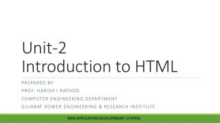 Unit-2  Introduction to HTML