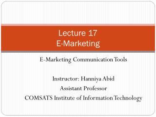 Lecture 17 E-Marketing
