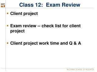 Class 12:  Exam Review