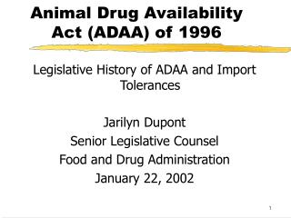 Animal Drug Availability Act ADAA of 1996
