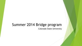 Summer 2014 Bridge program