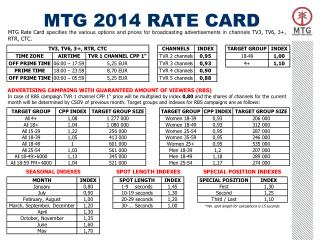 MTG 2014 RATE CARD