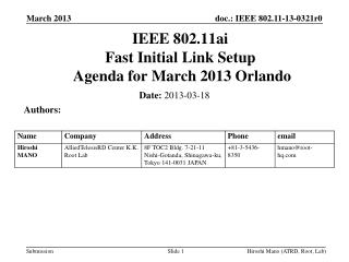 IEEE 802.11ai Fast Initial Link Setup  Agenda for  March 2013 Orlando