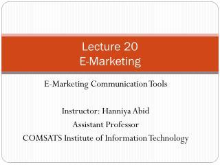 Lecture  20 E-Marketing
