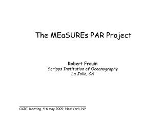 The MEaSUREs PAR Project
