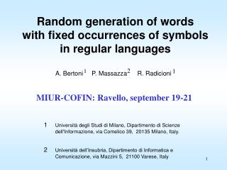 Random generation of words  with fixed occurrences of symbols  in regular languages