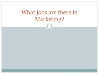 What jobs are there in Marketing?
