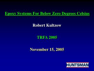 Robert Kultzow TRFA 2005 November 15, 2005