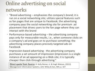 Online advertising on social  networks
