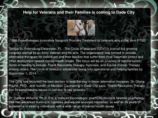 Help for Veterans and their Families is coming to Dade City