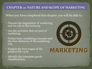 CHAPTER  21: NATURE AND SCOPE OF MARKETING