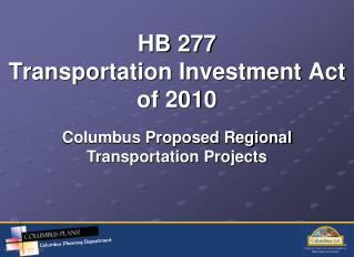 HB 277 Transportation Investment Act of 2010