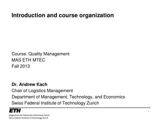 Introduction and course organization
