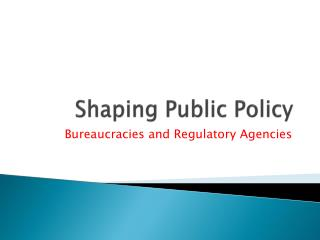 Shaping Public Policy