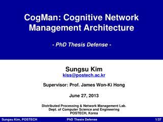 CogMan : Cognitive Network Management Architecture - PhD Thesis Defense -