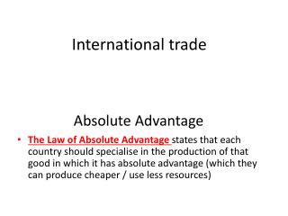 Absolute Advantage