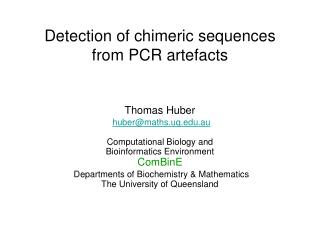 Detection of chimeric sequences from PCR artefacts