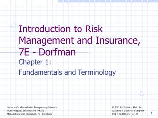 Introduction to Risk Management and Insurance, 7E - Dorfman