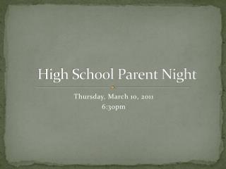 High School Parent Night