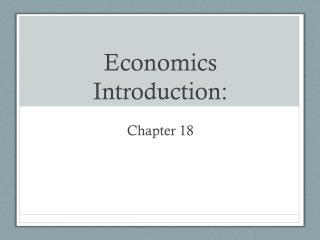 Economics Introduction: