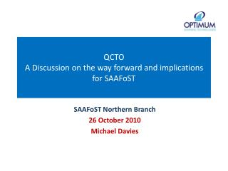 QCTO A Discussion on the way forward and implications for SAAFoST