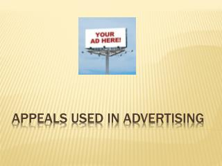 Appeals used in Advertising